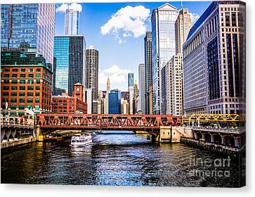Chicago Cityscape At Wells Street Bridge Canvas Print by Paul Velgos
