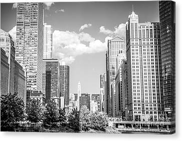 Chicago Cityscape Black And White Picture Canvas Print by Paul Velgos
