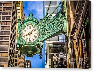 Chicago Clock Hdr Photo Canvas Print by Paul Velgos