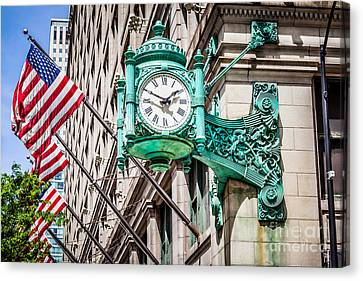 Chicago Clock On Macy's Marshall Field's Building Canvas Print by Paul Velgos