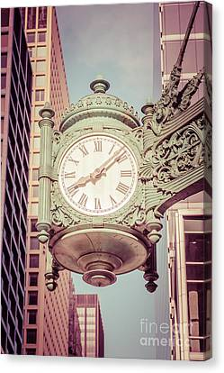 Chicago Clock Retro Photo Canvas Print by Paul Velgos