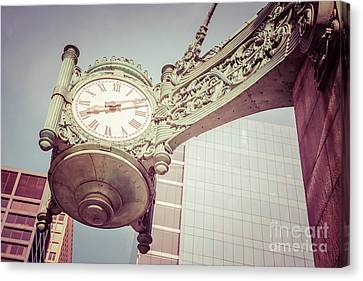 Chicago Clock Vintage Photo Canvas Print by Paul Velgos