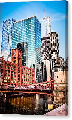 Chicago Downtown At Lasalle Street Bridge Canvas Print by Paul Velgos