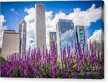 Chicago Downtown Buildings And Spring Flowers Canvas Print by Paul Velgos