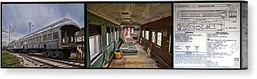 Chicago Eastern Il Rr Car Restoration With Blue Print Canvas Print by Thomas Woolworth
