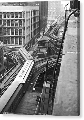 Chicago El Train Canvas Print by Underwood Archives