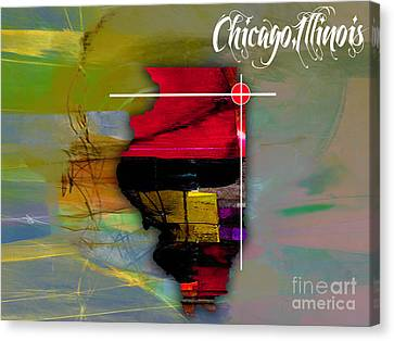 Chicago Illinois Map Watercolor Canvas Print by Marvin Blaine