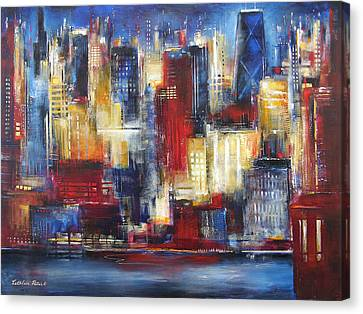 Chicago In The Evening Canvas Print by Kathleen Patrick