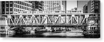 Chicago Lake Street Bridge L Train Black And White Picture Canvas Print by Paul Velgos