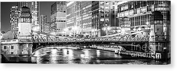 Chicago Lasalle Street Bridge At Night Panorama Photo Canvas Print by Paul Velgos