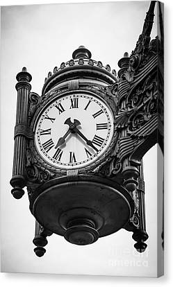 Chicago Macy's Marshall Field's Clock In Black And White Canvas Print by Paul Velgos