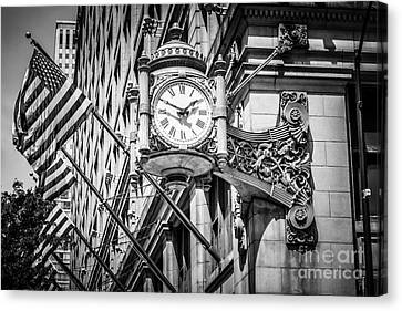 Chicago Marshall Fields Clock In Black And White Canvas Print by Paul Velgos