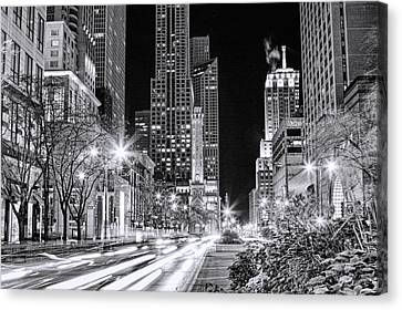 Chicago Michigan Avenue Light Streak Black And White Canvas Print by Christopher Arndt