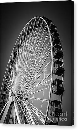 Chicago Navy Pier Ferris Wheel In Black And White Canvas Print by Paul Velgos