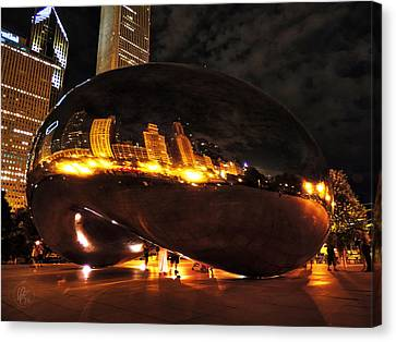 Chicago Night At Cloud Gate 001 Canvas Print by Lance Vaughn