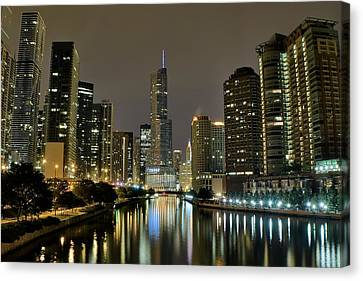 Chicago Night River View Canvas Print by Frozen in Time Fine Art Photography