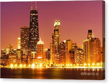 Chicago Night Skyline With John Hancock Building Canvas Print by Paul Velgos