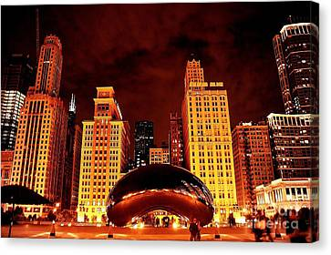 Chicago Photography - The Bean At Night Canvas Print by Gene Mark