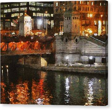 Chicago River At Michigan Avenue Canvas Print by Jeff Kolker