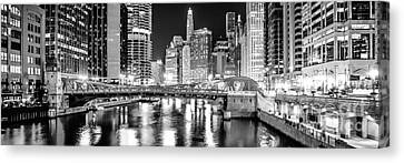 Chicago River Clark Street Bridge At Night Panorama Photo Canvas Print by Paul Velgos