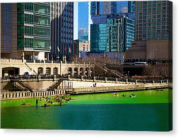 The Chicago River On St. Patrick's Day Canvas Print by Art Spectrum