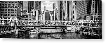 Chicago River Panorama Black And White Picture Canvas Print by Paul Velgos