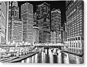 Chicago River Skyline At Night Black And White Picture Canvas Print by Paul Velgos