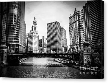 Chicago River Skyline In Black And White Canvas Print by Paul Velgos