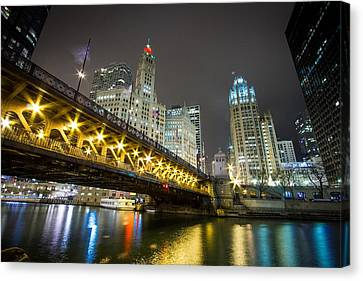 Chicago Riverwalk At Night Canvas Print by Jackie Novak
