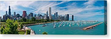 Chicago Skyline Daytime Panoramic Canvas Print by Adam Romanowicz