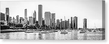 Chicago Skyline Panorama Photo At Monroe Harbor Canvas Print by Paul Velgos