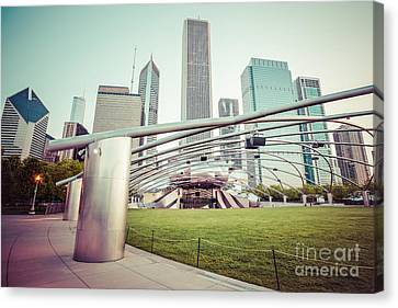 Chicago Skyline With Pritzker Pavilion Vintage Picture Canvas Print by Paul Velgos