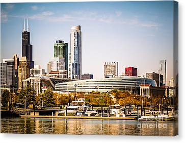 Chicago Skyline With Soldier Field Canvas Print by Paul Velgos