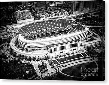 Chicago Soldier Field Aerial Picture In Black And White Canvas Print by Paul Velgos