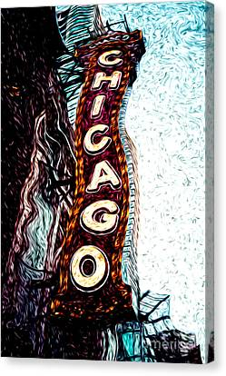 Chicago Theatre Sign Digital Art Canvas Print by Paul Velgos