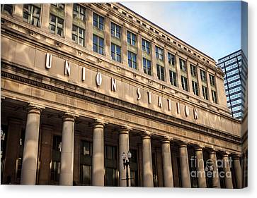 Chicago Union Station Building And Sign Canvas Print by Paul Velgos