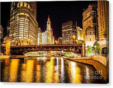 Chicago Wabash Avenue Bridge At Night Picture Canvas Print by Paul Velgos