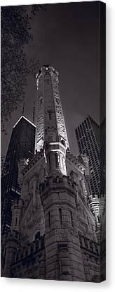 Chicago Water Tower Panorama B W Canvas Print by Steve Gadomski