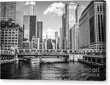 Chicago Wells Street Bridge Black And White Picture Canvas Print by Paul Velgos