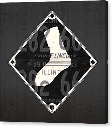 Chicago White Sox Baseball Vintage Logo License Plate Art Canvas Print by Design Turnpike