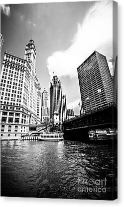 Chicago Wrigley Tribune Equitable Buildings Black And White Phot Canvas Print by Paul Velgos