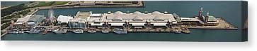 Chicago's Navy Pier Aerial Panoramic Canvas Print by Adam Romanowicz
