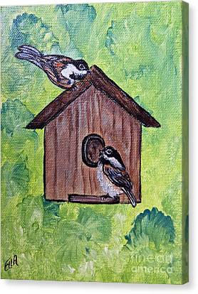 Chickadee Birds - Garden Home For Two - Painting Canvas Print by Ella Kaye Dickey