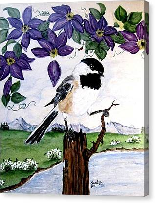 Chickadee With Blue Clematis Canvas Print by Sandra Maddox