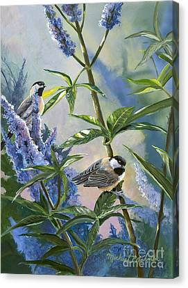 Chickadees And Lilac Canvas Print by Michael Ashmen