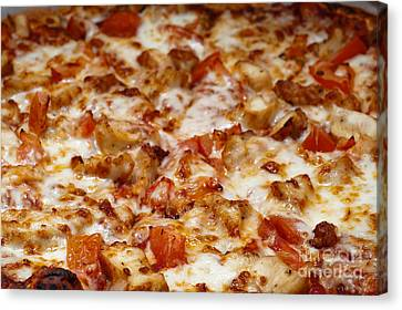 Chicken And Diced Tomato Pizza 2 Canvas Print by Andee Design