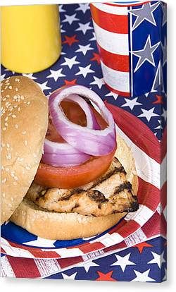 Chicken Burger On Fourth Of July Canvas Print by Joe Belanger