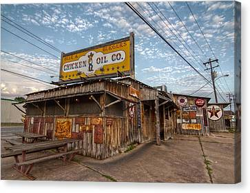 Chicken Oil Company Canvas Print by Linda Unger