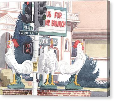 Chickens At Twin Inns Carlsbad Canvas Print by Mary Helmreich