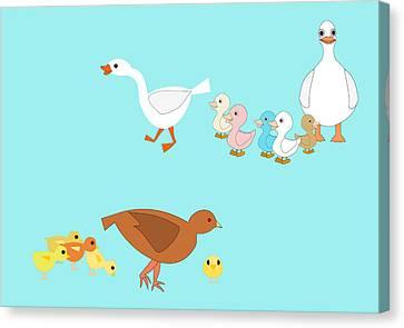 Chicks And Ducks Canvas Print by John Orsbun